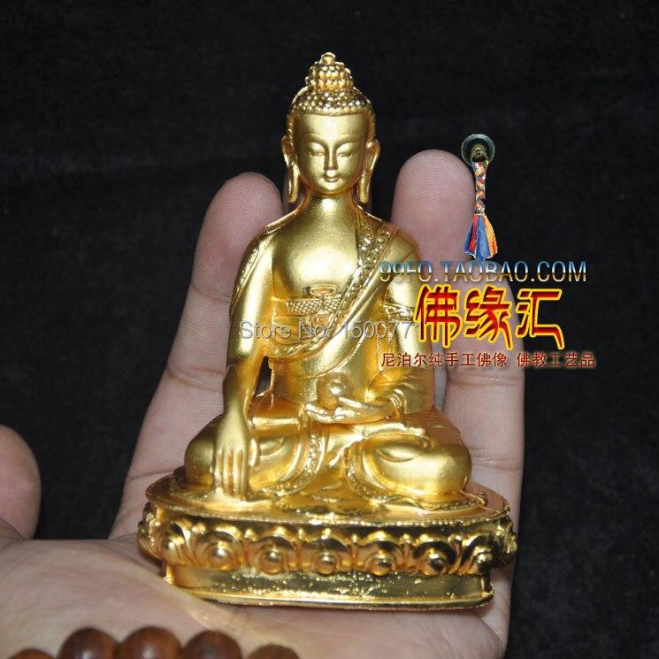 Socha Buddhy / Tibetan Tantric malé pozlacené sochy Buddhy Buddhy Sakyamuni Buddhy Sambo vysoké 9,5 cm