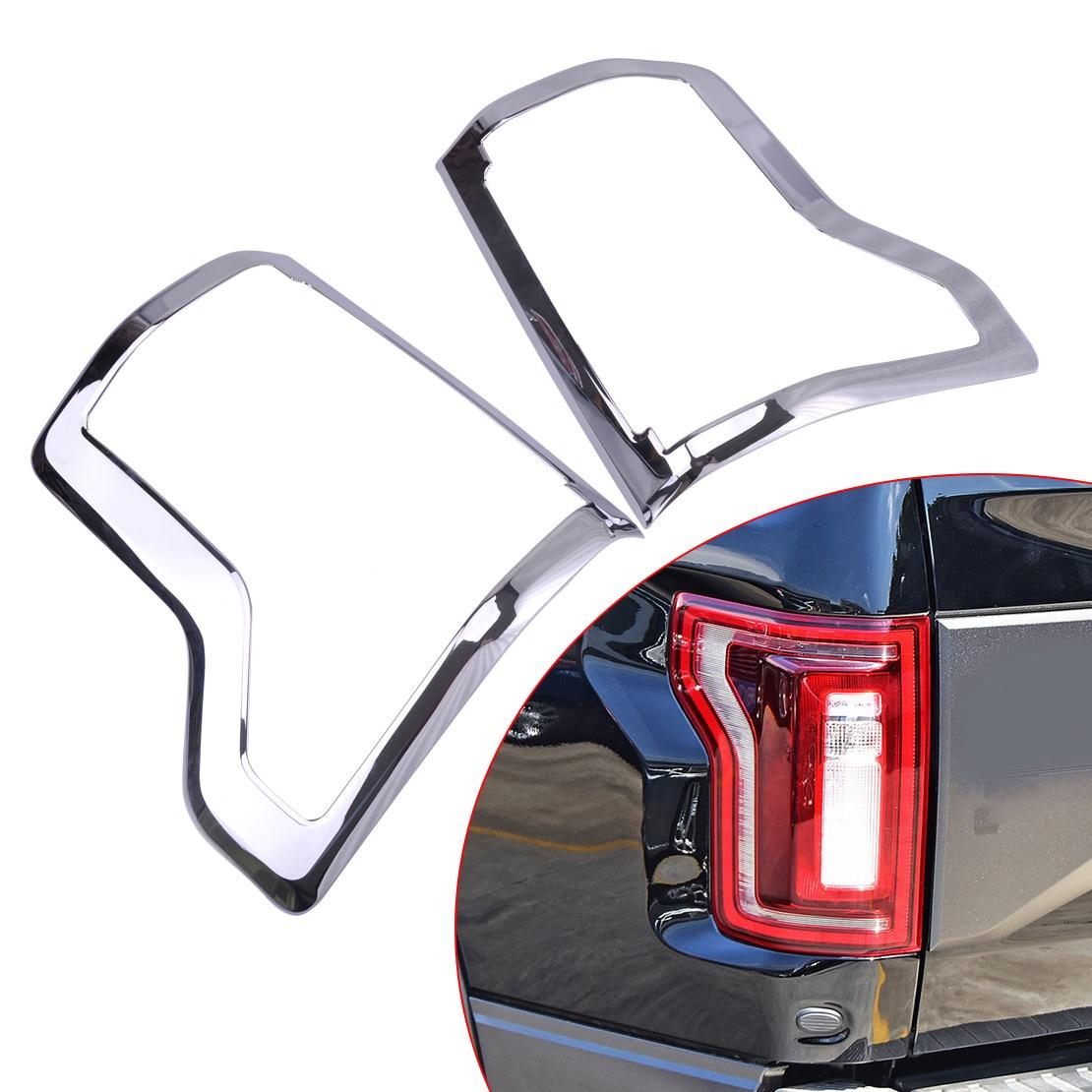 Beler Jumelé Chrome feu arrière Lampe Pare-chocs Capot Couverture Garniture Lunette Cadre Moulage Garnish idéal pour Ford F150 2015-2019