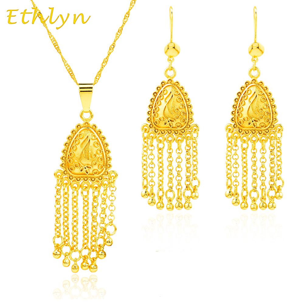 Indian 22k Gold Plated Wedding Necklace Earrings Jewelry: Ethlyn Sets Jewelry Ethiopian 22k Gold Plated African