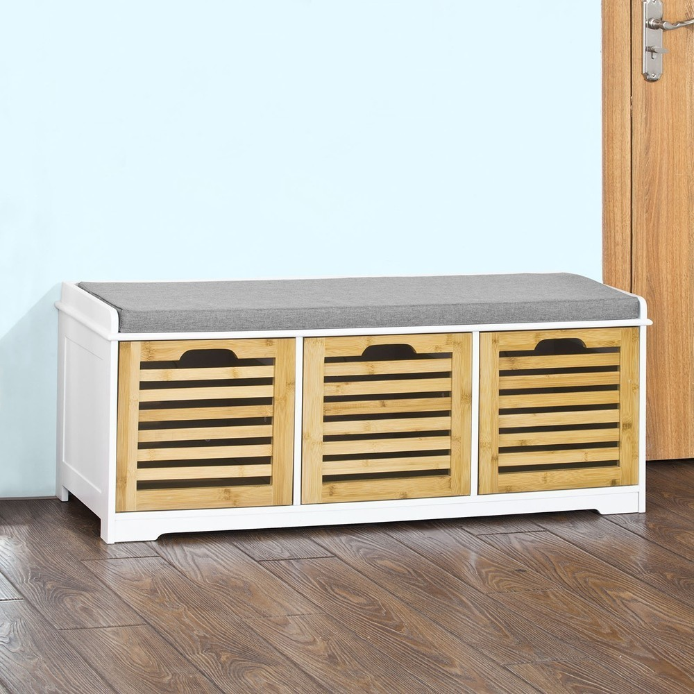 SoBuy FSR23-WN Shoe Storage Bench with 3 Drawers and Seat Cushion Cabinet Storage Unit