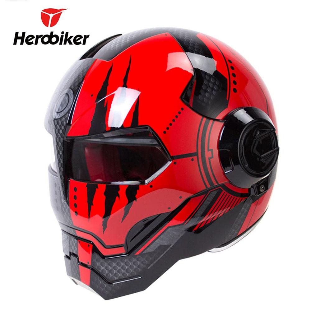 HEROBIKER Motorcycle Helmet Motorbike Full Face Helmet Moto Casco Riding Cruiser Chopper Cafe Racer Vintage Retro Capacetes 1000m motorcycle helmet intercom bt s2 waterproof for wired wireless helmet