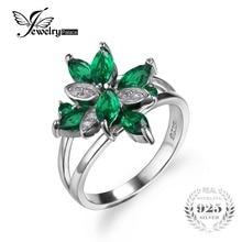 Jewelrypalace 1.3ct forma de flor verde nano ruso creado esmeralda anillo de cóctel para mujer real 925 joyería de plata esterlina