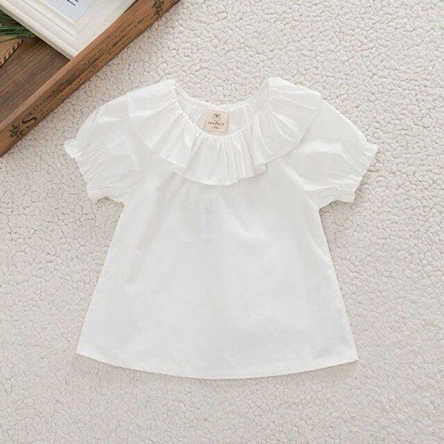 b433a6b4cc967 الوليد الحلو الاطفال اطفال بنات بلوزة قمم قمصان قصيرة الأكمام القطن الصيف  الأبيض 0-30