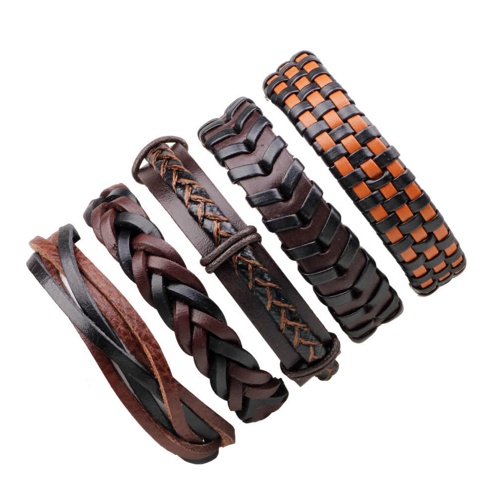Новый ручной работы КОС ткачество Обёрточная бумага кожаный браслет наборы для