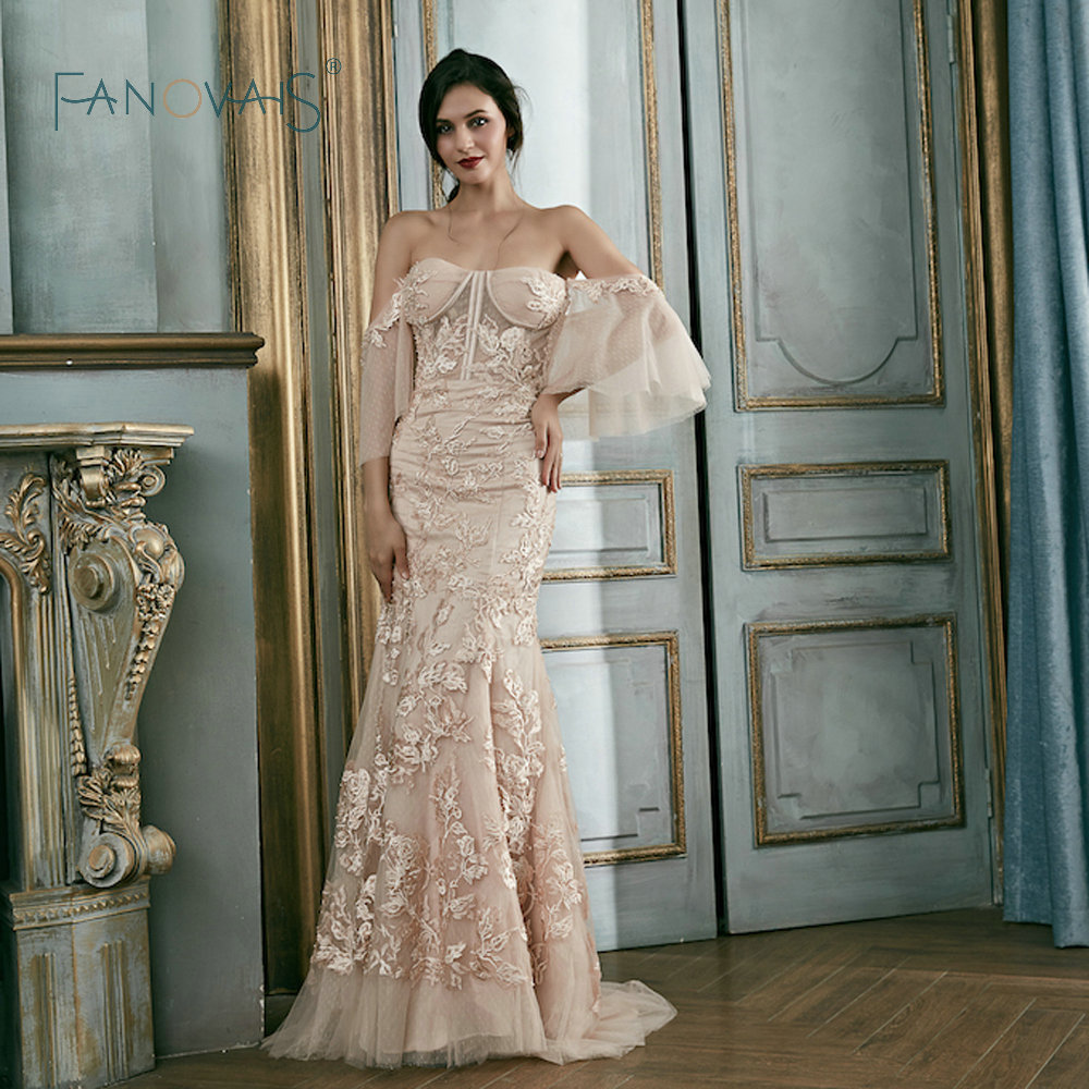 Blush Pink Lace Evening Dresses Detachable Sleeves Party Gowns Long ...