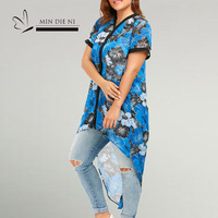 2018 Fashion Plus Size Camisa Feminina Slim Loose Casual Shirt Large Size Women Clothing Asymmetric Blouses