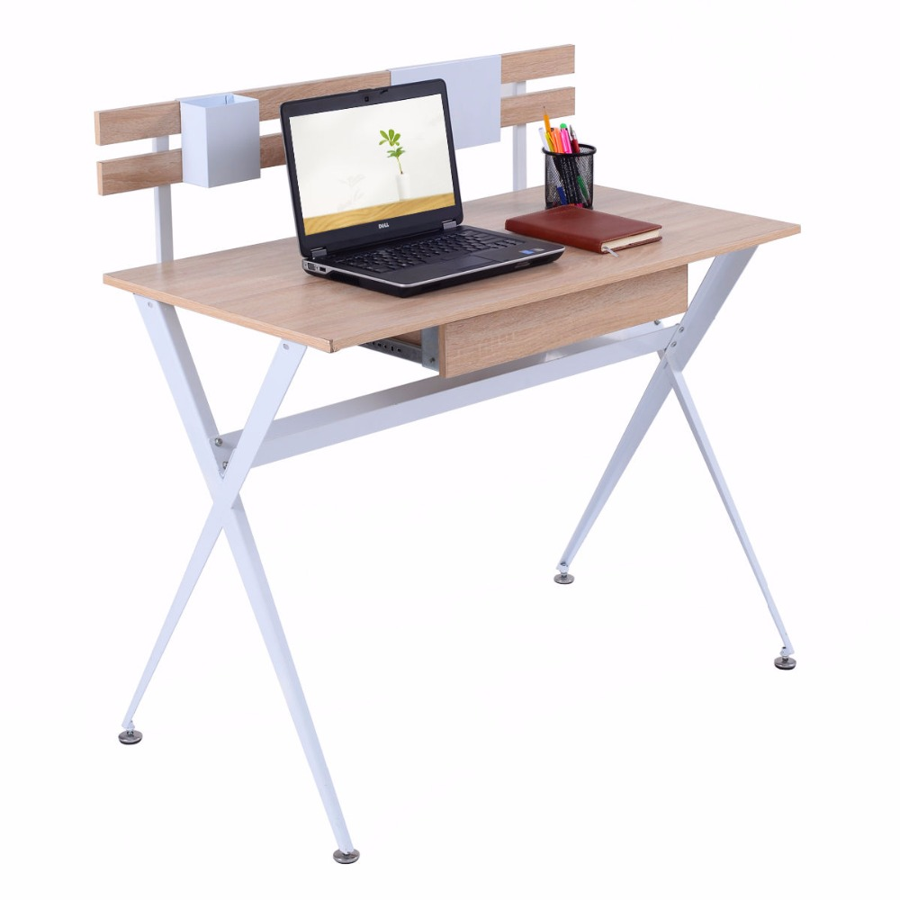 Giantex Wood Top Computer Desk Modern Student Study Writing Laptop Table Workstation With Drawer Home Office Furniture HW52846