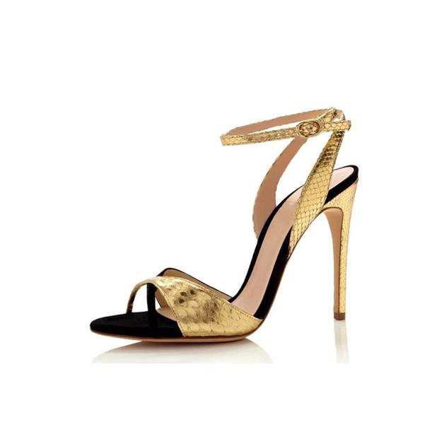 New Style Women Gold Silver Sexy Peep Toe Ankle Buckle Strap Sandals Summer Mixed Color Super High Heel Dress Shoes Free Ship