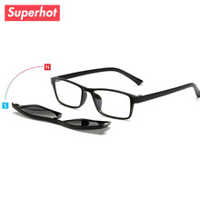 2017 new polarized clip glasses men fashion design mirrored sunglasses retro frame eyewear Night vision driving optical glasses