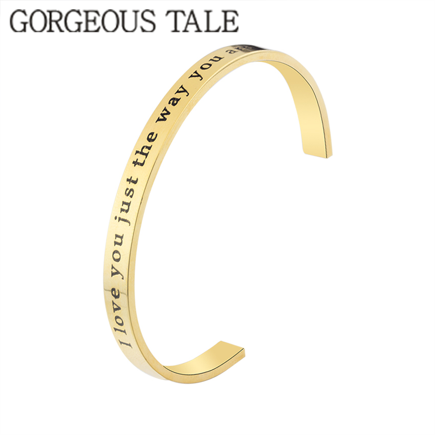 GORGEOUS TALE New Arrival Stainless Steel Open Cuff Bangle Gold Color Hand Stamped Bracelet Engraved Words Bangle for Women open cuff bangle