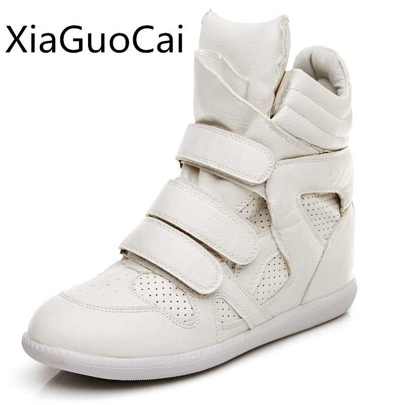 134f4202fa25 Autumn Women Boots High Top Hidden Wedges Shoes for Ladies Hook Loop Ankle  Boots Solid Height Increasing