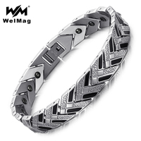WelMag Germanium Bracelets Bangles For Men Healthy Magnetic Therapy Wristbands For Arthritis Bio Energy 2017 Fashion