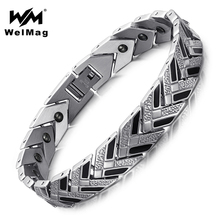 WelMag Germanium Bracelets & Bangles for Men  Healthy Magnetic Therapy Wristbands for Arthritis Bio Energy 2017 Fashion Jewelry
