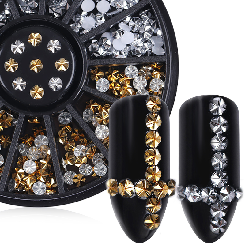 3D Gold Silver Flower Rhinestone Nail Art Decoration 3mm Round Flat Bottom Manicure 1 Box DIY Nail Decorations 3 Patterns qt beauty 1 bag gold silver glass 3d nail art decoration gel nail polish nails accessories mini round balls caviar beads