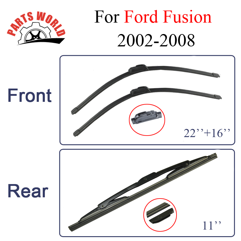 Wiper Blades For Ford Fusion 2002-2008 Windscreen Combo Rubber Front And Rear Wipers Car Accessories wiper blades for ford s max 30
