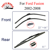 Combo Silicone Rubber Front And Rear Wiper Blades For Ford Fusion 2002 2008 Windscreen Wipers Car