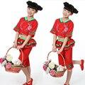 Dança Popular chinesa Dança Oriental Trajes de Dança para Crianças Meninas Outfits Trajes de Dança Tradicional Chinesa
