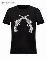 Men Long Sleeve T Shirts New Fashion Print Wolf Pattern Brand Casual Slim V Neck Cotton