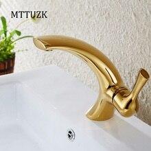 MTTUZK Бесплатная доставка современная творческая умывальник дизайн ванной кран золото смеситель горячей и холодной воды краны масло втирают бассейна кран