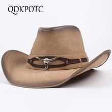 Qdkpotc высокое качество Западные Ковбойские шляпы для мужчин