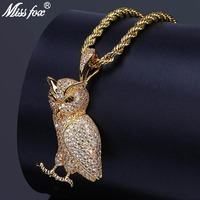 MISSFOX Hip Hop New AAA Cubic Zirconia Pendants Owl Necklace For men Gold Sliver Long Necklaces Fashion Jewelry valentine's Gift