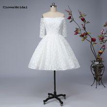 c132a4a448 Śliczne romantyczna koronki kwiatowy pół rękawy off-the-shoulder wysokie  niskie suknie ślubne 2017 off biały krótki przód długi .