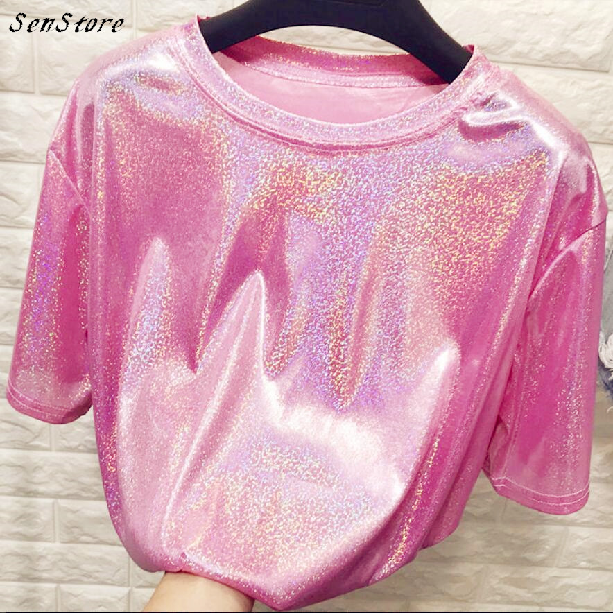 New summer retro style stylish bright silk woman <font><b>tops</b></font> shiny loose short sleeve t-shirt <font><b>sexy</b></font> club aesthetic <font><b>harajuku</b></font> women tshirt image