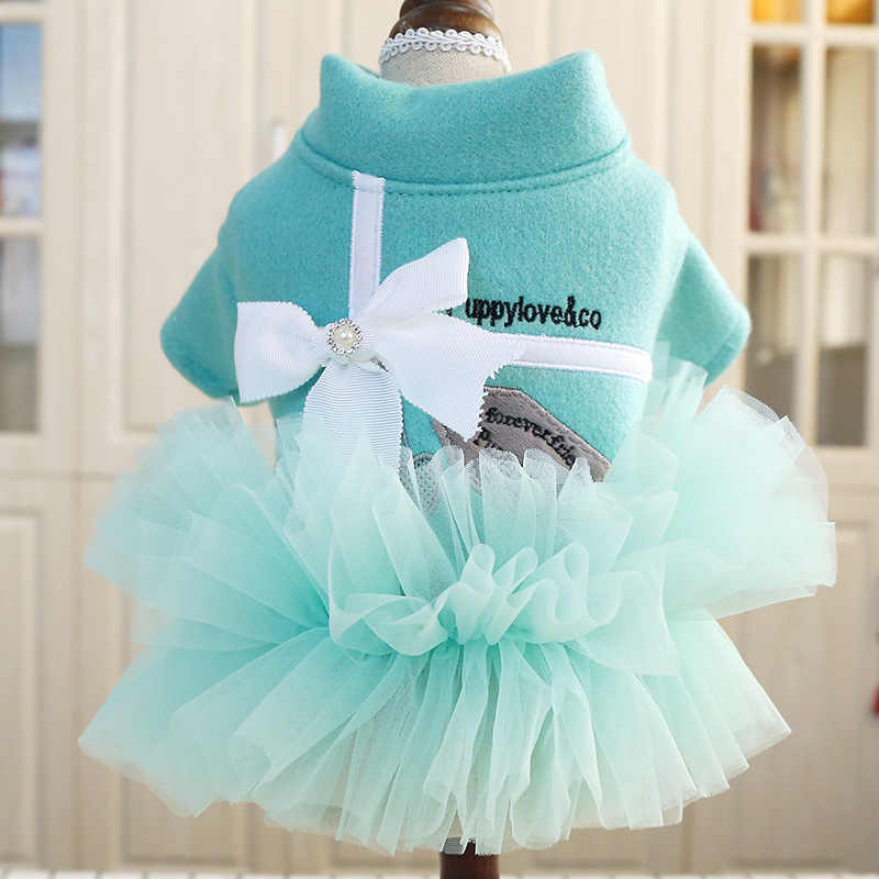 Spring Autumn Pet dog dresses for small dogs Bowknot Tutu Dress for Dogs Cat Pet clothing teddy poodle Clothes for Dogs