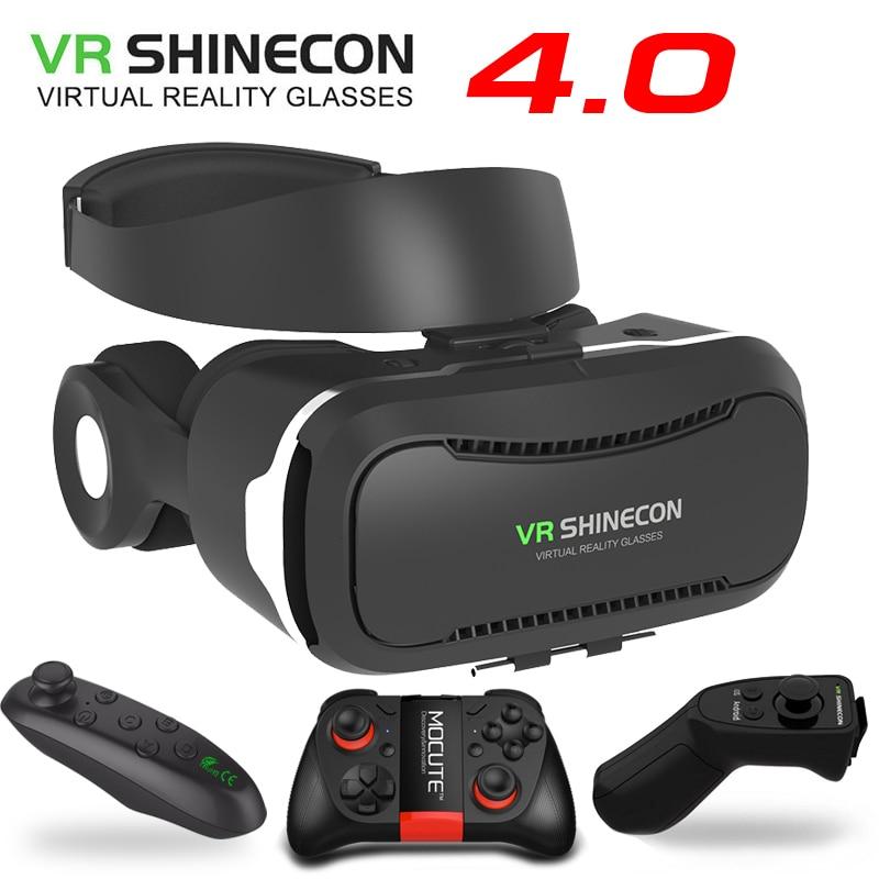VR Shinecon 4.0 Stéréo Virtuel Réalité Smartphone 3D Lunettes Casque Google BOÎTE + Casque/Bouton De Commande pour 3.5- 5.5 «Mobile