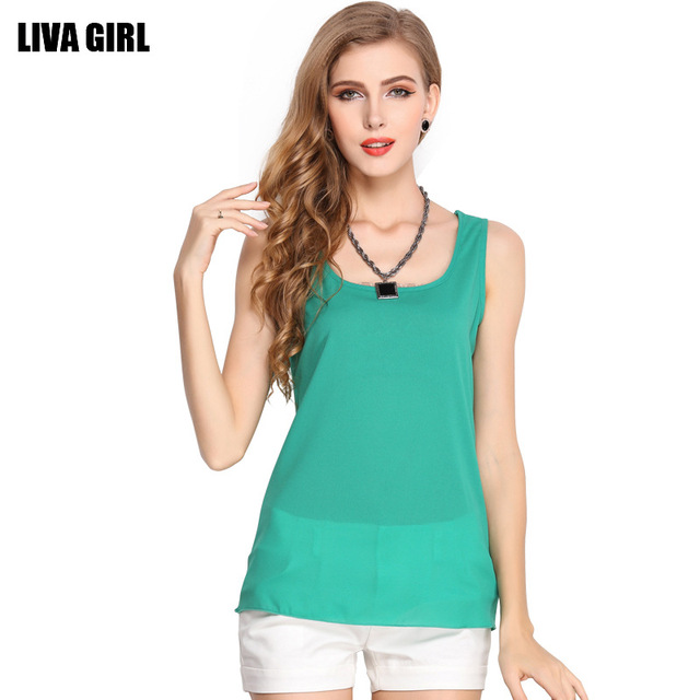 070ce940e New Summer Women Sexy Tops Candy Colored Blouse Chiffon Tank Top ...
