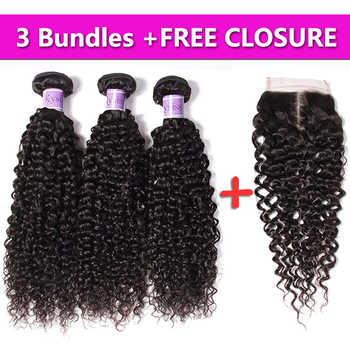 UNice Hair Kysiss Series 8A Brazilian Curly Virgin Hair 3PCS Send One Free Closure Hot Brazilian Curly Hair Bundles 8-26 Inch - DISCOUNT ITEM  30% OFF All Category
