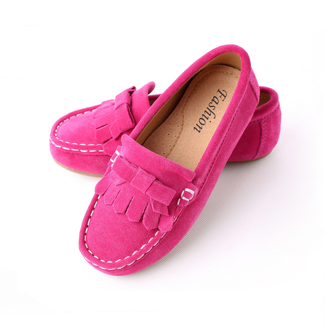 2017 Spring Children Shoes Girls Genuine Leather Shoes Fashion Tassel Soft Sole Moccasins Casual Girls Shoes Kids Flat Shoes