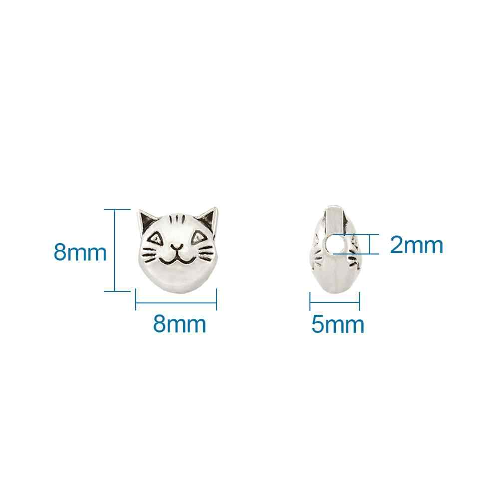 สไตล์ทิเบตโบราณเงินแมวหัวลูกปัดสำหรับเครื่องประดับทำ Big Star รูปร่างหัวใจโลหะลูกปัด DIY Handmade