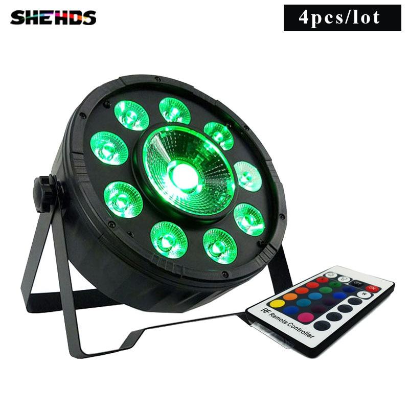 4 Pcs/lot Wireless Remote Control LED Par 9x10W+30W RGB 3N1 LED  Wash Light Stage Uplighting No Noise Remote Control