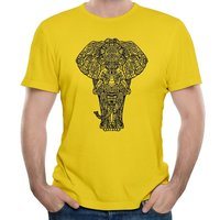 Elephant Funny Cotton Print O-Neck Short Personalized Tee Shirt Homme Fashion Yellow Tee Shirt