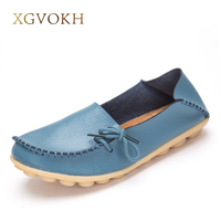 Big Size Women Shoes Leather Loafers Mother Casual Fashion Slip On Girls Shoes Breathable Comfortable Woman