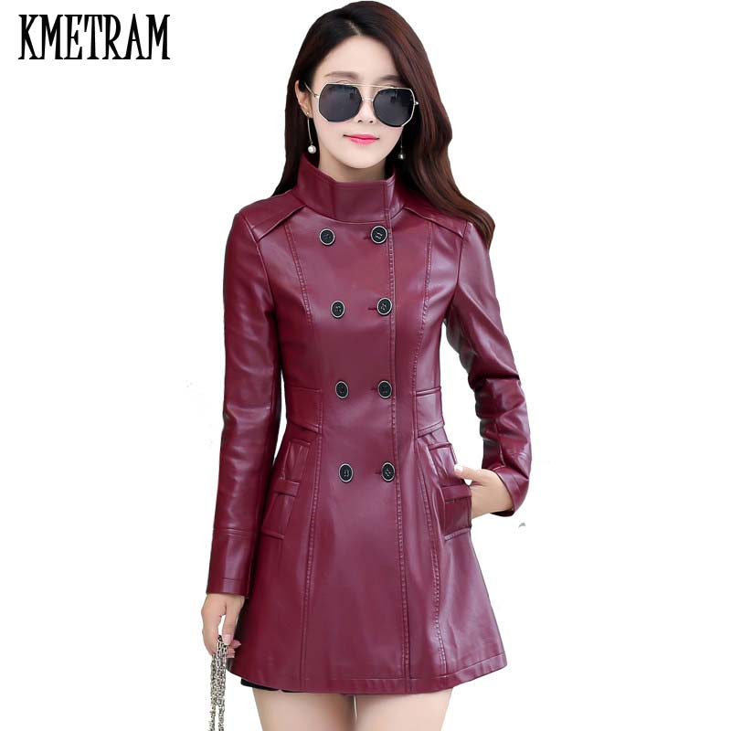 Double Breasted Long Faux Leather Jacket Women Stand Collar Jaqueta Couro Feminina 2019 Autumn Spring PU