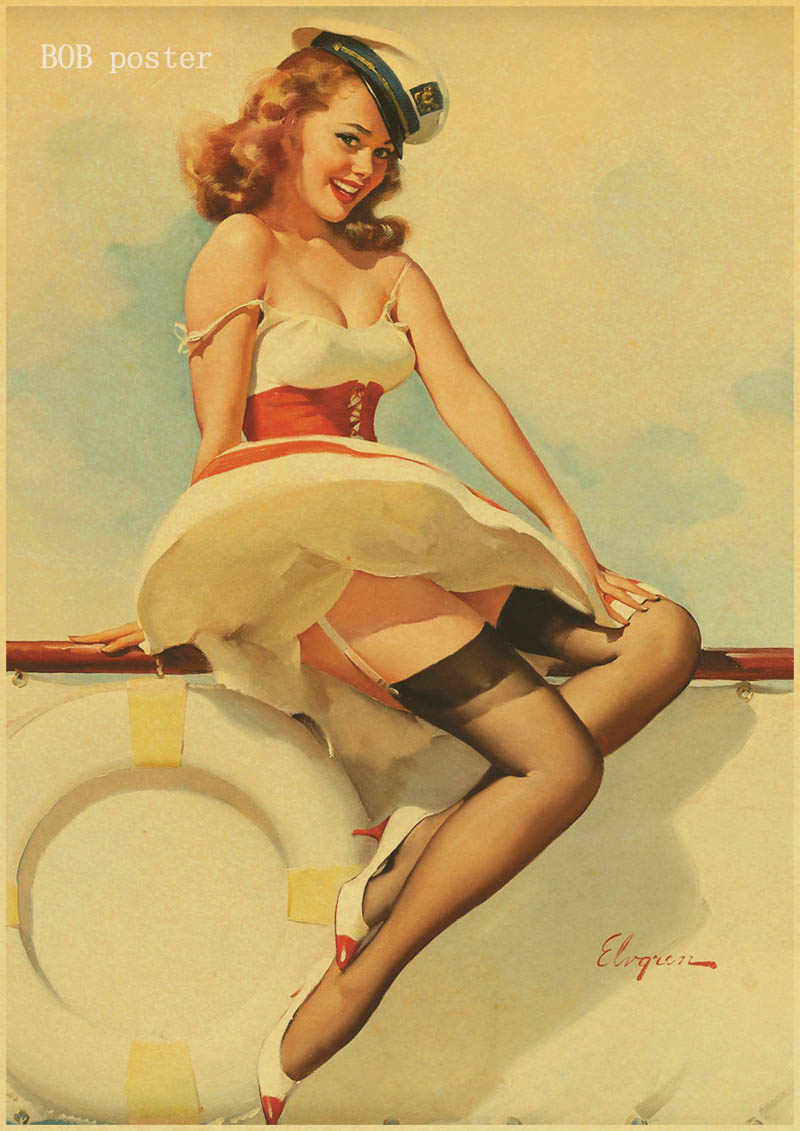 Retro Poster World War Ii Sexy Pin Up Girl Poster Military Bar