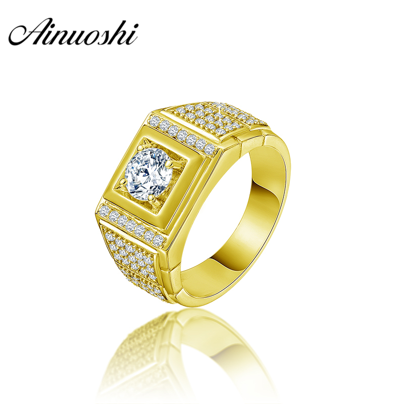 AINUOSHI 10K Solid Yellow Gold Men Ring Rows Drill Rectangle Ring Engagement Wedding Male Jewelry 6.5g Exquisite Wedding Band цена и фото