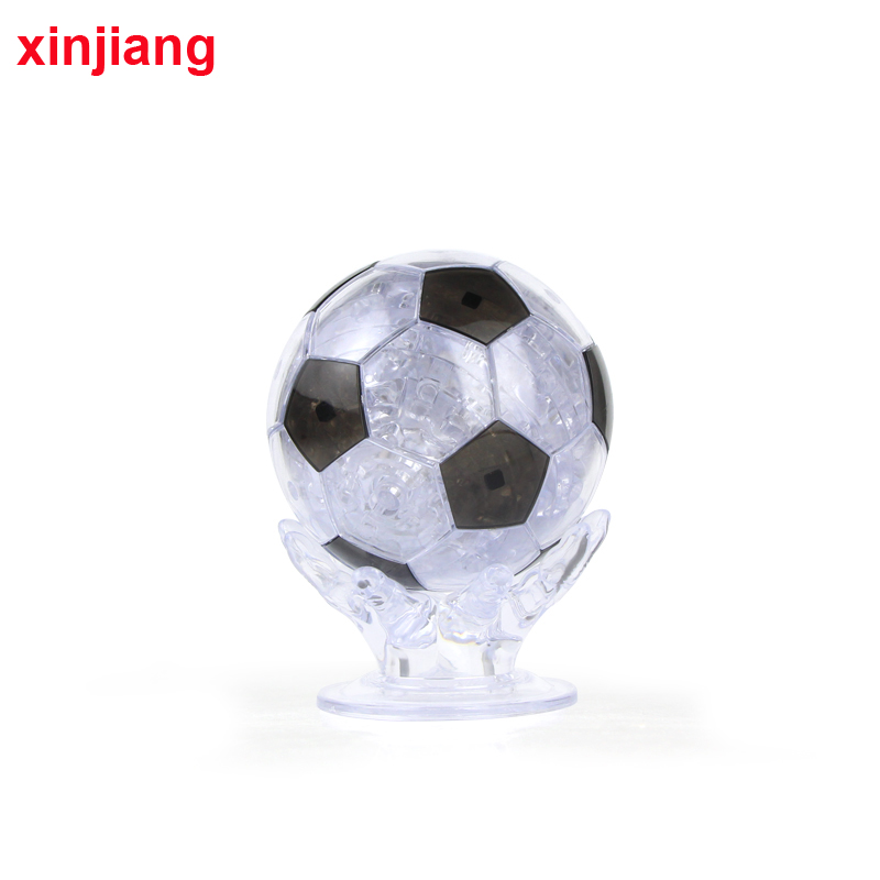 77PCS 3D Crystal Puzzle DIY Hands Hold Football Model Toy Brain Teaser Decoration With LED light Puzzle Toys Christmas Toys
