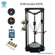 HE3D K200 дельта двойной экструдер 3D принтер печати размер 200 мм в диаметре 300 мм в высоту все литья изделий из пластика части