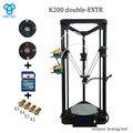 HE3D K200 delta dupla extrusora 3D impressora de tamanho de impressão de 200mm de diâmetro 300mm de altura todos os plásticos da injeção partes