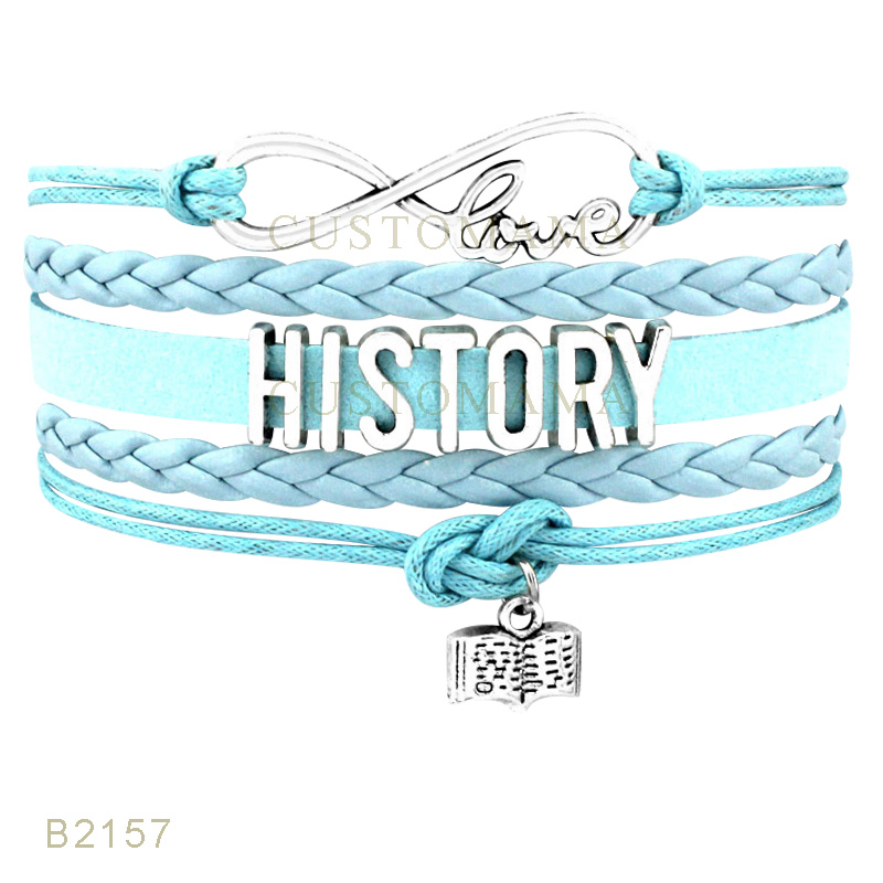US $13 0 |(10 PCS/Lot) Infinity Love History Book Charm Bracelets For Women  Men Jewelry Pink Turquoises Black Leather Suede Wrap Bracelet-in Charm