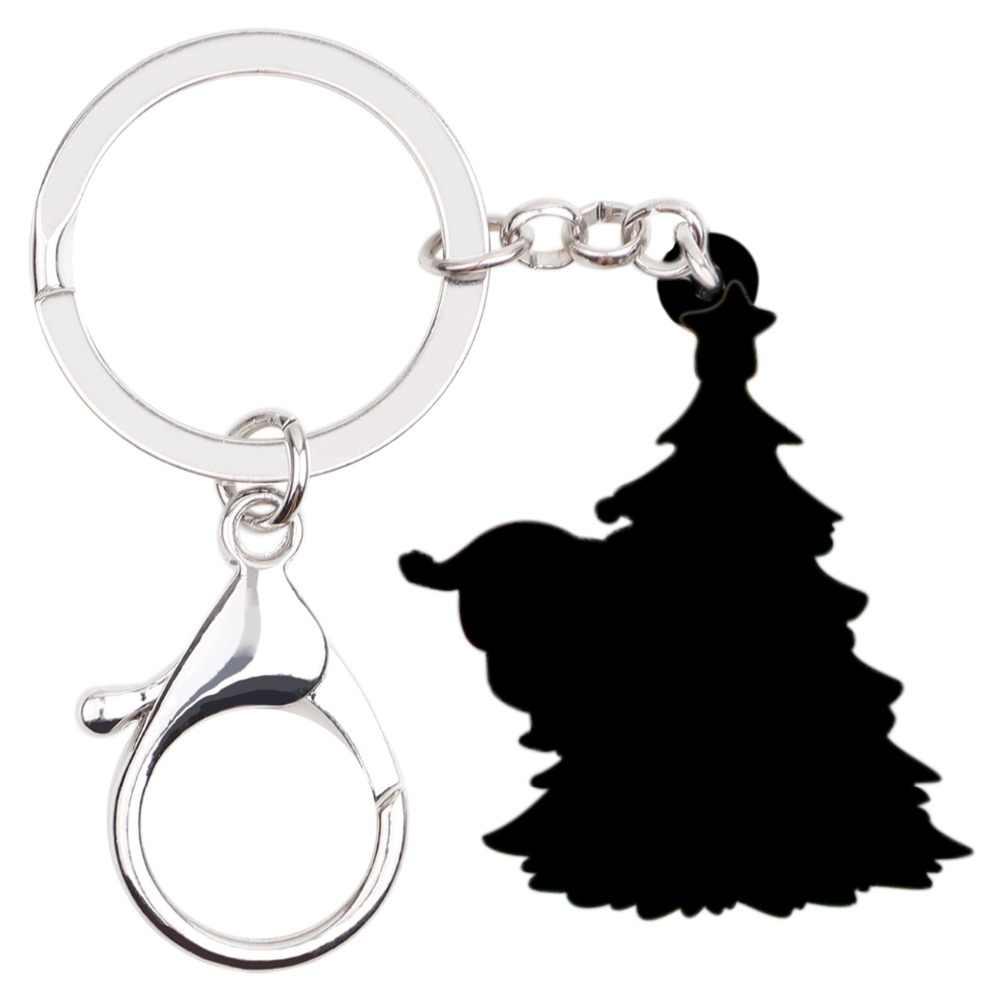 Bonsny акриловые Рождественская елка Санта Клаус Ключ Цепочки брелок украшения подарок с утолщённой меховой опушкой, ювелирное изделие для Для женщин с машинками для девочек и сумочек, Новинка