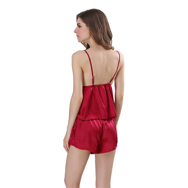 3b4865c4f3cb placeholder Sexy Pajamas Set Satin Strap Vest and Shorts Femme Fashion  Night Suit Lace Nightgowns Sleepwear Women