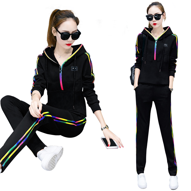 Spring Autumn Tracksuit Rainbow Edge Stitching Sweatshirts Casual Suit Women Clothing 2 Piece Set Top+Pants Sporting Suit Female