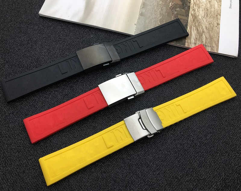 Black Yellow Red Dark Blue Silicone Rubber Watch band 22mm 24mm Watchband Bracelet For navitimer/avenger/Breitling strap tools
