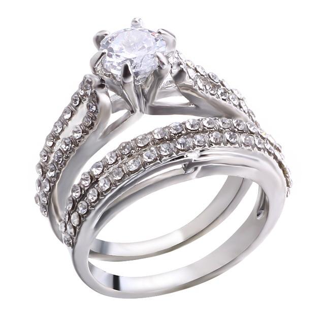 Купить элегантные свадебные кольца с фианитом для пары комплект из