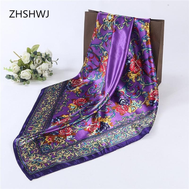 [ZHSHWJ]90 * 90 cm high quality silk scarf scarf shawl scarves women sunscreen floral hijab fashion gorgeous hijab free shipping