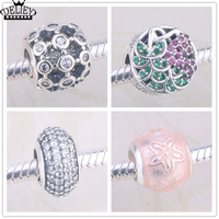 DELIEY Authentic 925 Sterling Silver Flower Charm Pink Crystal Beads Fit Original Charm Bracelet Fine DIY